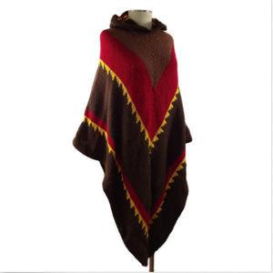 VTG 70's OOAK Chevron Stripe Knit Poncho Cape